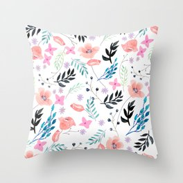 Sweet Floral Watercolor Throw Pillow