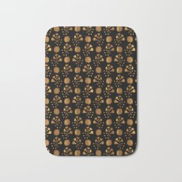 Metallic Copper Gold Floral Pattern Seamless Vector, Drawn Foil Shapes Bath Mat