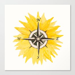 Compass  Sunflower Canvas Print