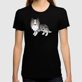 Blue Merle Shetland Sheepdog Dog Cartoon Illustration T-shirt