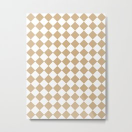 Diamonds - White and Tan Brown Metal Print