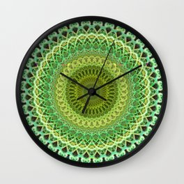 Light and dark green mandala Wall Clock