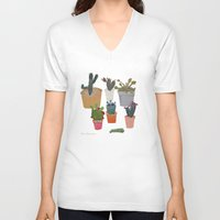 cactus V-neck T-shirts featuring Cactus by Anita Dominoni