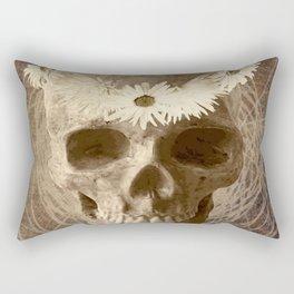 Skull Human Vintage Flowers Digital Collage 2 Rectangular Pillow