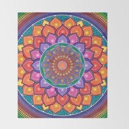 Lotus Rainbow Mandala Throw Blanket