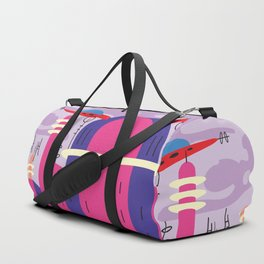 Pink Florida mood,  landscape with spaceship Duffle Bag