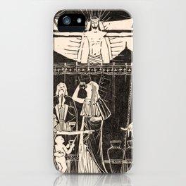 Drinking people under crucified Christ, Mathieu Lauweriks, 1935 iPhone Case