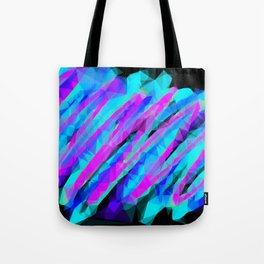 psychedelic geometric polygon abstract in pink blue with black background Tote Bag