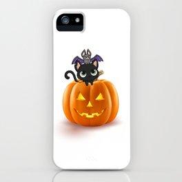 Cute Halloween Cat On Halloween Pumpkins iPhone Case