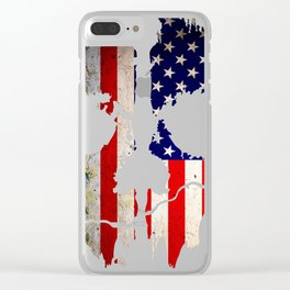 Skull American Flag Punisher Clear iPhone Case