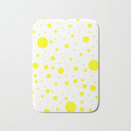Mixed Polka Dots - Yellow on White Bath Mat