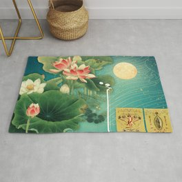 Chinese Lotus Full Moon Garden :: Fine Art Collage Rug