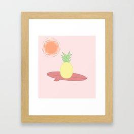 Surfing pineapple - sunset Framed Art Print