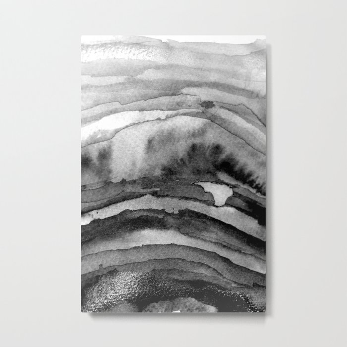 Layers Black and White Metal Print