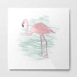 Flamingo Illustration Metal Print