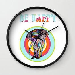 Be happy - rainbowphant Wall Clock