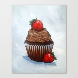 Chocolate Cupcake With Strawberries, Realism Art Canvas Print