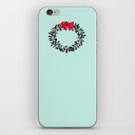 Christmas Wreath with Red Bow #Christmas #holidays iPhone Skin