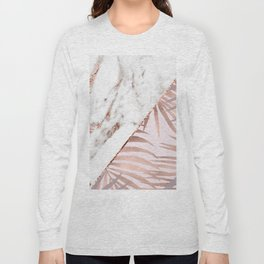 Rose gold marble & tropical ferns Long Sleeve T-shirt