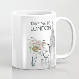 White Vintage Bicycle with Flowers in London Coffee Mug