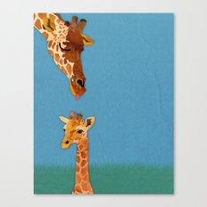 mom and baby giraffe Canvas Print