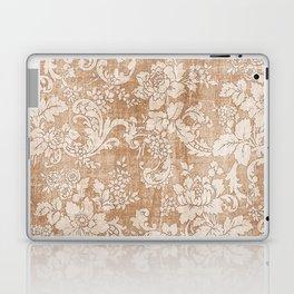 Vintage white brown grunge shabby floral Laptop & iPad Skin
