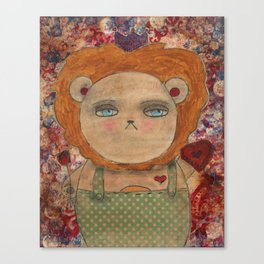 Mixed Media Lion - The King of Hearts Canvas Print