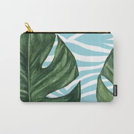 Tropical Watercolor Swiss Cheese Leaf and Zebra Carry-All Pouch