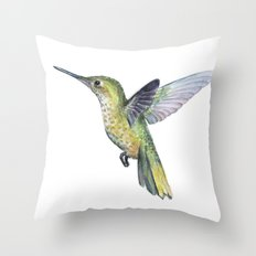 Hummingbird Watercolor Bird Animal Throw Pillow