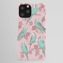 Budgie Birds With Blossom Flowers on Pink iPhone Case