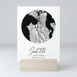 Seattle Area City Map, Seattle Circle City Maps Print, Seattle Black Water City Maps Mini Art Print