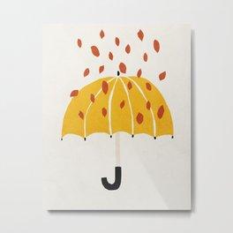 Umbrella, Autumn, Mid century modern kids wall art, Nursery room Metal Print