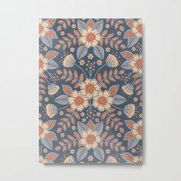 Slate Blue, Cream & Peach Floral Pattern - Pastel Flowers & Leaves Metal Print