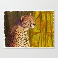 cheetah Canvas Prints featuring Cheetah by Michelle Behar