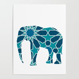 ELEPHANT SILHOUETTE WITH PATTERN Poster