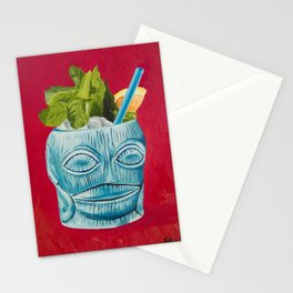 Tiki Drink Tropical Cocktail / Oil Painting Stationery Cards