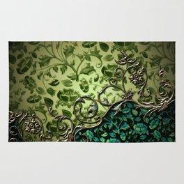 Wonderful floral design, green colors Rug