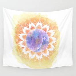 Watercolor Sun And Moon Wall Tapestry