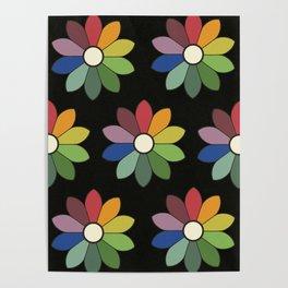 Flower pattern based on James Ward's Chromatic Circle (vintage wash) Poster