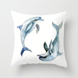 Dolphin, Two Dolphins, chidlren room decor illustration dolphin art Throw Pillow