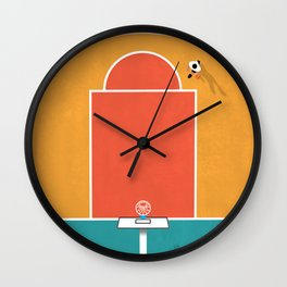 Shoot Hoops | Aerial Illustration Wall Clock