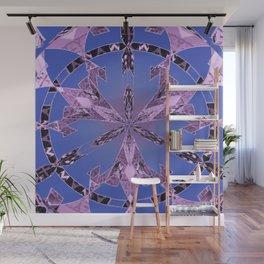 Indigo and Glowing Lavendar Art Nouveau Mandala Wall Mural