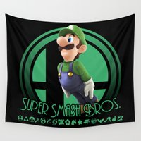 super smash bros Wall Tapestries featuring Luigi - Super Smash Bros. by Donkey Inferno