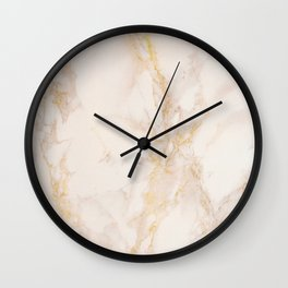 Gold Marble Natural Stone Gold Metallic Veining Beige Quartz Wall Clock