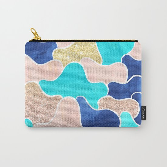 Color block faux gold turquoise pink watercolor Carry-All Pouch