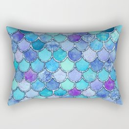Colorful Blues Mermaid Scales Rectangular Pillow