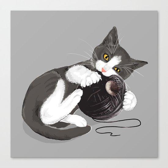 Kitten and Death Star Ball of Yarn Canvas Print