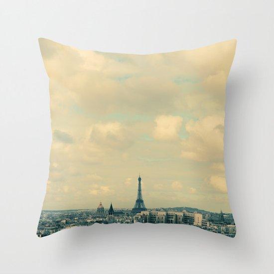 Paris In Blue Throw Pillow