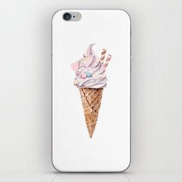 Watercolor ice cream in a cone iPhone Skin