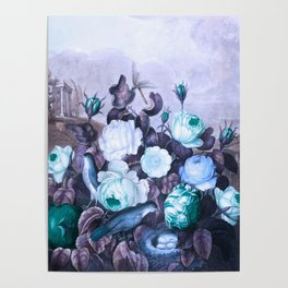 Teal Roses Blue Birds : Temple of Flora Poster